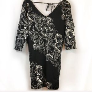White House Black Market Black Paisley Mini Dress